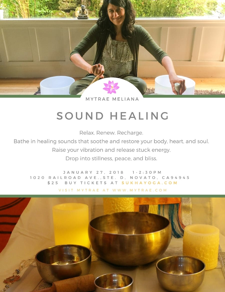 Sound healing at Sukha Yoga - Mytrae Meliana
